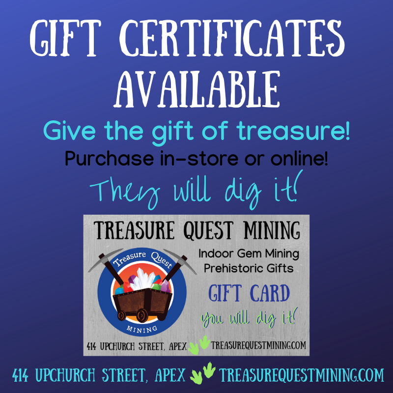 Gift certificates for gem mining at Treasure Quest Mining